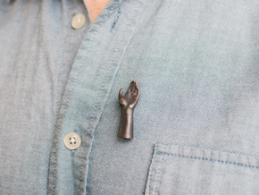 High Five Lapel Pin - Left Hand in Polished and Bronzed Black Steel