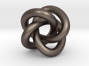 Torus Knot Type 3 Pendant in Polished Bronzed Silver Steel