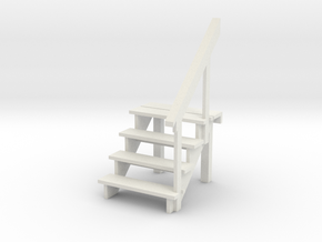 1:48 scale 4 step stair and railing in White Natural Versatile Plastic