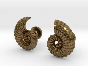 Nautilus Shell Cufflinks in Polished Bronze