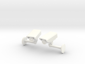 CCTV surveillance camera cufflinks in White Strong & Flexible Polished