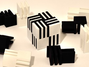 Cube Puzzle, 4 white pieces only  in White Processed Versatile Plastic