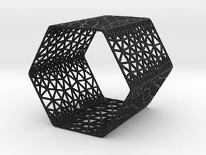 Hexagon Wine Holder  in Black Premium Versatile Plastic
