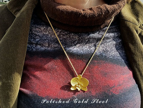 Orchid Pendant in Polished Gold Steel