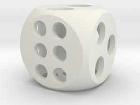 "0.5"" Balanced D6 in White Natural Versatile Plastic"