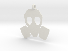 Gas Mask necklace charm in White Natural Versatile Plastic