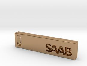 Saab Billet Keychain in Polished Brass