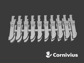 20x Combat Knife: Cornivius (Sheathed) in Smooth Fine Detail Plastic