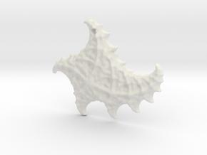 3D Fractal Sea Shell Pendant in White Natural Versatile Plastic