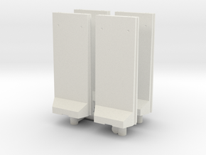 Concrete T-Wall (x4) 1/87 in White Natural Versatile Plastic