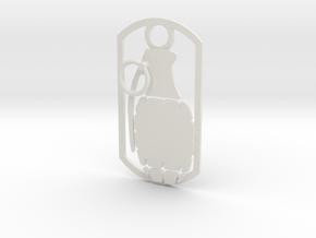 Hand grenade dog tag in White Natural Versatile Plastic