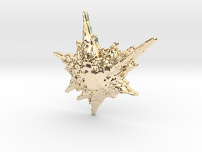 3D Fractal Snowflake Pendant in 14K Yellow Gold