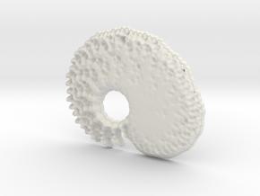 3D Fractal Tadpole Pendant in White Natural Versatile Plastic