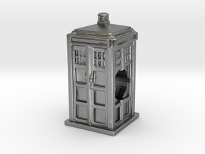 Tardis Bead - Mini Tardis with hole in Natural Silver