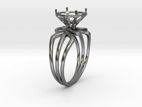 Enneper Curve Triple Ring + Voronoi Gem Setting in Fine Detail Polished Silver