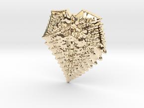 3D Fractal Leaf Pendant in 14K Yellow Gold