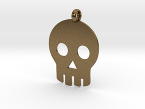 Skull necklace charm in Natural Bronze