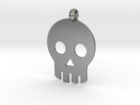 Skull necklace charm in Natural Silver