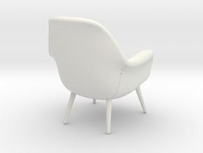 1:12 Miniature Swoon Lounge Petit - Wood Base in White Natural Versatile Plastic