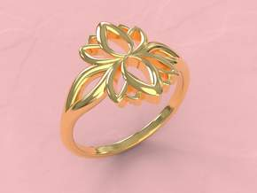 Lotus ring in 18k Gold Plated Brass: 7 / 54