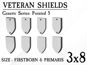 24x Veteran shields. Generic, Point 5 in Smooth Fine Detail Plastic: Small