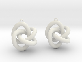 Torus Knot Type 3 Earrings in White Natural Versatile Plastic