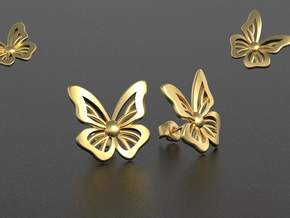 Butterfly earrings studs in 18k Gold Plated Brass