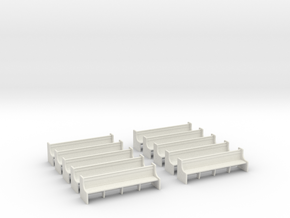 Church Pews - 4mm Scale  in White Natural Versatile Plastic