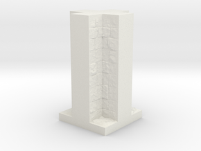 A modular dungeon cross wall tile in White Natural Versatile Plastic