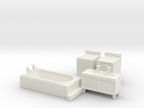 S Scale Modern Bathroom Set in White Natural Versatile Plastic