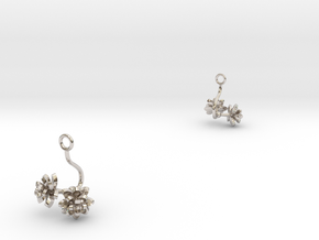 Earrings with two small flowers of the Lotus in Rhodium Plated Brass