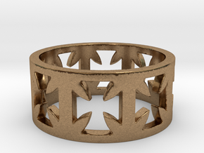 Outlaw Biker Cross Ring Size 10 in Natural Brass