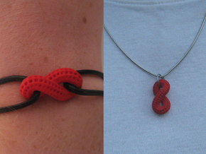 Infinite Loop and Hidden Heart Pendant/Bracelet in Red Processed Versatile Plastic