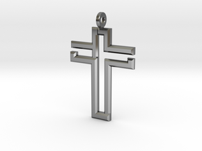 CROSS1_L in Fine Detail Polished Silver