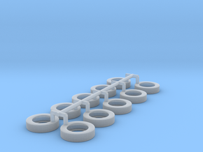 1/64 Scale tire for tag axle wheel in Smooth Fine Detail Plastic