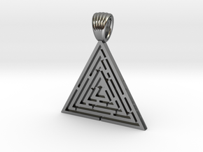 Triangle maze [pendant] in Polished Silver