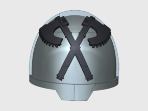 10x Crossed Axes 1 - G:13a Shoulder Pads in Smooth Fine Detail Plastic