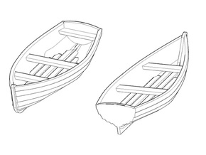 4 mm Scale Small Rowing Boats X3 in Gray PA12