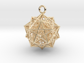 Starcage with internal stellated Icosahedron in 14k Gold Plated Brass