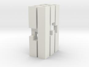 Triple Cross Puzzle (L) in White Natural Versatile Plastic