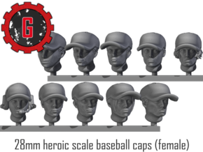 28mm Heroic Scale Female Baseball Caps in Smooth Fine Detail Plastic: Small