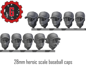 28mm Heroic Scale African-American Baseball Caps in Smooth Fine Detail Plastic: Small