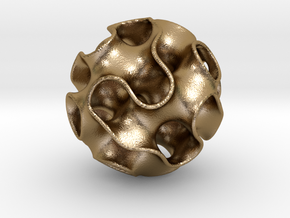 Gyroid Sphere in Polished Gold Steel
