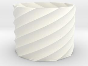 20mm Tall Spiral Vase (Economical) in White Processed Versatile Plastic