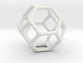 Polyhedral Jewelry: Truncated Octahedron in White Natural Versatile Plastic