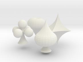 Spade, Club, Heart and Diamond in White Natural Versatile Plastic