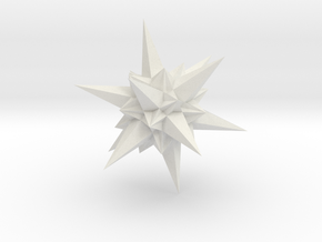 A stellation of icosahedron in White Natural Versatile Plastic