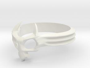 Skull Mask Ring -v3 in White Natural Versatile Plastic
