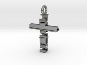 Jesus Cross Pendant in Natural Silver