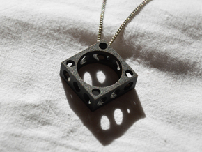 Futurist Ring+Pendant in Matte Black Steel: 8.5 / 58
